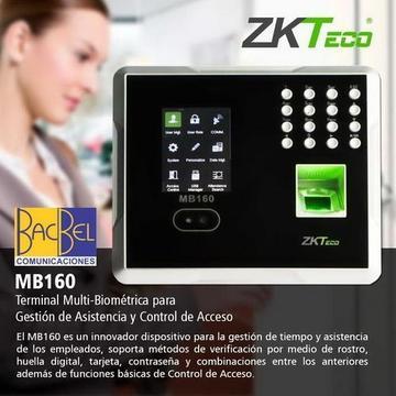 ZKTECO / CONTROL DE ACCESO Y ASISTENCIA BIOMETRICO ZK MB160 / RECONOCIMIENTO FACIAL, HUELLA Y TARJETA / ¡EQUIPO NUEVO