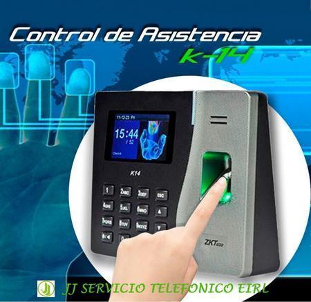 ZKTECO PERÚ / TERMINAL LECTOR BIOMETRICO / CONTROL DE ASISTENCIA HUELLA / GRABADO REPORTES / MODELO K14 / EQUIPO NUEVO