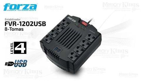 ESTABILIZADOR FORZA FVR-1202 USB 8 tomas 220v