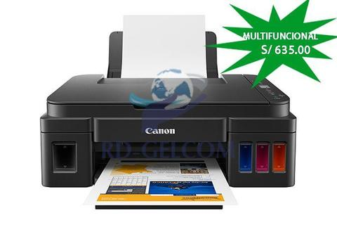 Impresora Multifuncional de tinta continua Canon Pixma G2110, imprime/escanea/copia, USB 2.0
