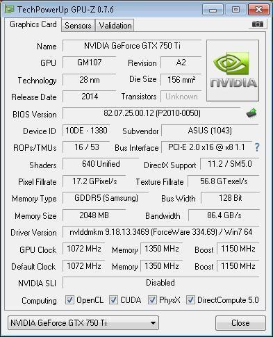 Tarjeta Grafica Gigabyte Gtx 750 Ti Oc 2gb Gddr5