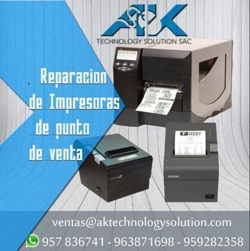 Reparación y mantenimiento de impresoras Zebra, Bematech, Epson, Star, Bixolon