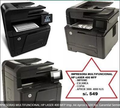 IMPRESORA MULTIFUNCIONAL HPLASER 400 MFP Impr A4 6,500 hjs, XEROX 6605 color10,000 hjs. Seminueva s/.499